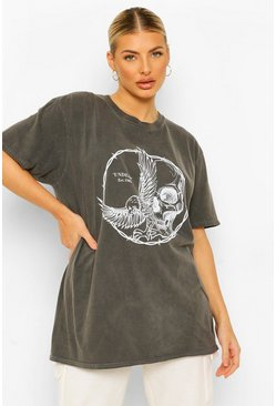 Charcoal Skull Dove Barbed Wire Acid Wash T-shirt
