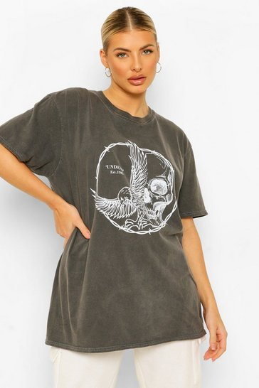 Charcoal grey Skull Dove Barbed Wire Acid Wash T-shirt