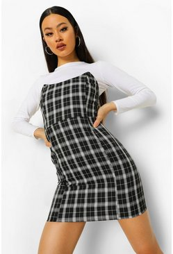 Black Checked Strapless Boned Mini Dress