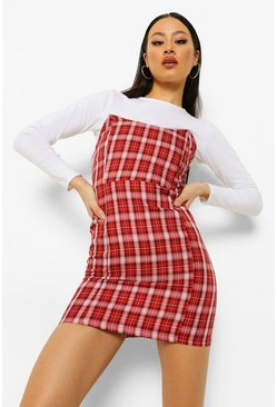 Red Checked Strapless Boned Mini Dress