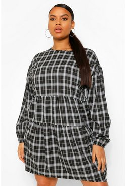 Black Plus Checked Ruched Detail Smock Dress