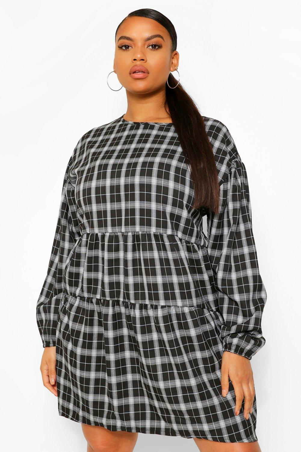 Plus Checked Ruched Detail Smock Dress 16