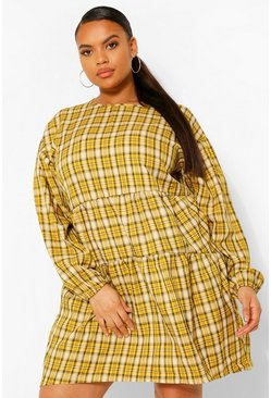Mustard yellow Plus Checked Ruched Detail Smock Dress