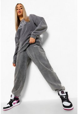 Charcoal grey Oversized Acid Wash Slogan Print Tracksuit