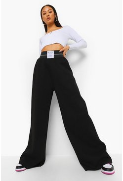 Black Wide Leg Joggers With Woven Tab