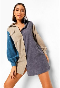Grey Colour Block Cord Shirt Dress