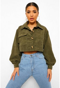 Khaki Cropped Cord Shirt