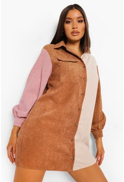 Tan brown Colour Block Cord Shirt Dress
