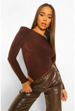 Chocolate brun Shoulder Pad Long Sleeve Bodysuit