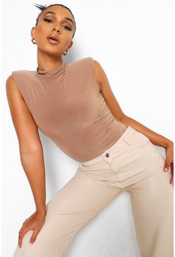 High Neck Shoulder Pad Bodysuit, Camel beige