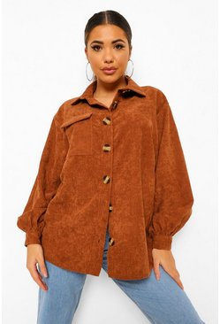 Chocolate brown Cord Oversized Shirt