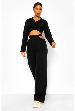 Black Cut Out Side Wide Leg Trousers