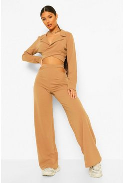 Wrap Blazer & Wide Leg Trouser Suit Set