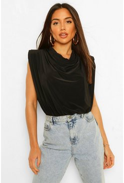 Black Shoulder Pad Cowl Neck Bodysuit