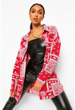 Red Oversized Bandanna Print Shirt