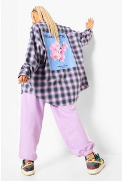 Purple Oversized Check Shirt With Back Print