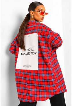 Red Oversized Check Shirt With Back Print