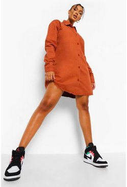 Rust orange Fray Hem Oversized Shirt Dress