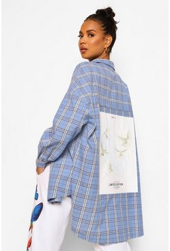 Blue Oversized Check Shirt With Back Print