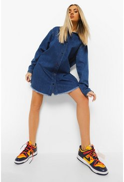 Mid blue Fray Hem Oversized Shirt Dress