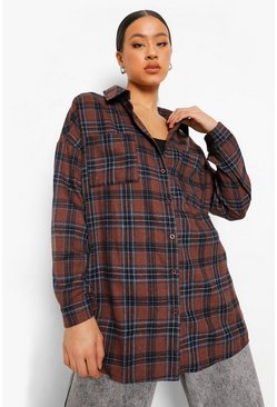 Brown Oversized Check Shirt With Back Print