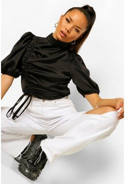 Black Satin Ruched High Neck Top