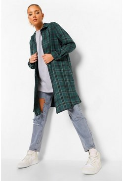 Bottle green Oversized Midi Check Shirt