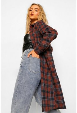 Brown Oversized Midi Check Shirt