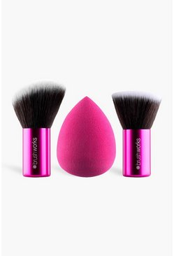 Brushworks - Kit maquillage et éponge, Rose