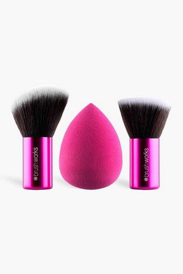 Pink Brushworks Hd Sponge & Kabuki Set