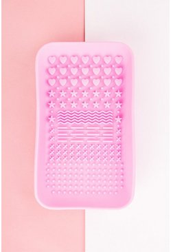 Hot pink pink Brushworks Hd Makeup Brush Cleaner Tray