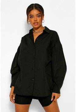 Black Woven Oversized Shirt