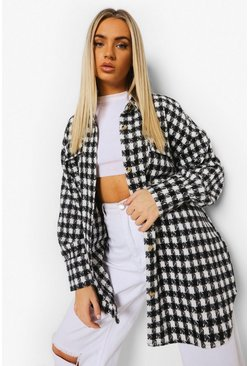 Black Dogtooth Checked Brushed Oversized Shacket