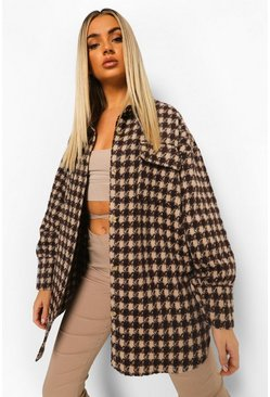 Chocolate brown Dogtooth Checked Brushed Oversized Shacket