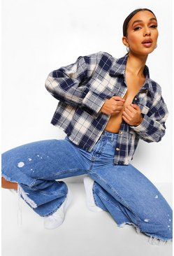 Blue Checked Cropped Oversized Shacket