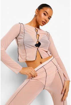 Nude Mesh Seam Detail Cut Out Crop Top