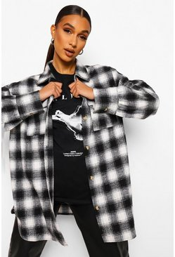 Black Checked Oversized Shacket