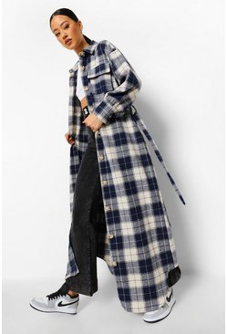 Blue Checked Oversized Belted Maxi Shacket