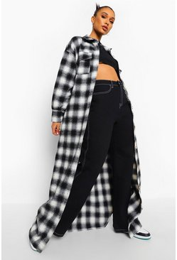 Black Checked Oversized Belted Longline Shacket