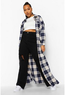 Blue Plus Checked Oversized Belted Maxi Shacket