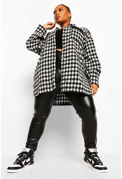 Black Plus Dogtooth Checked Brushed Oversized Shacket