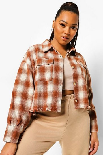 Rust orange Plus Checked Cropped Shacket