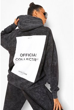 Charcoal grey Acid Wash Official Collection Oversized Hoodie
