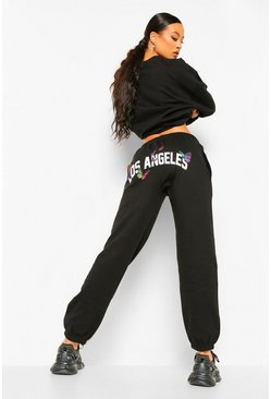 Black Los Angeles Butterfly Back Print Joggers