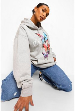 Grey marl grey California Butterfly Oversized Hoodie