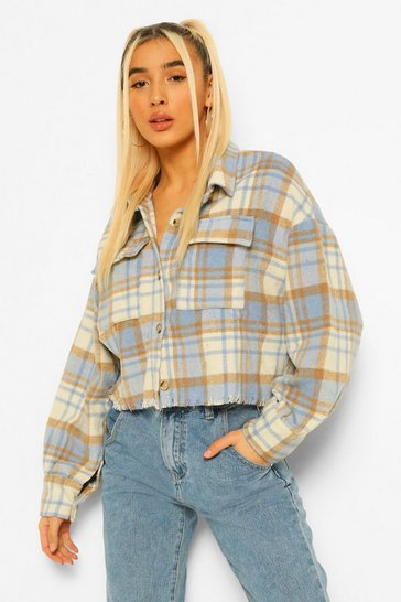Blue Brushed Check Oversized Cropped Shacket