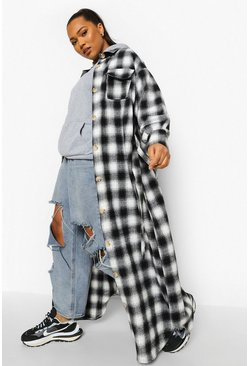 Plus Checked Oversized Belted Longline Shacket