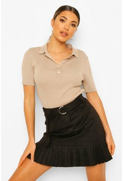 Black Faux Suede Belted Pleated Mini Skirt