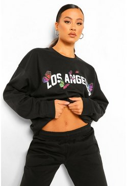 Black Los Angeles Butterfly Print Oversized Sweater