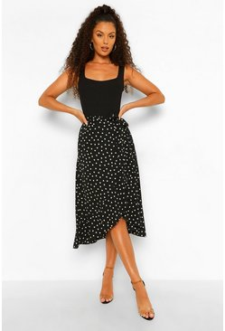 Black Ditsy Heart Print Woven Midi Skirt